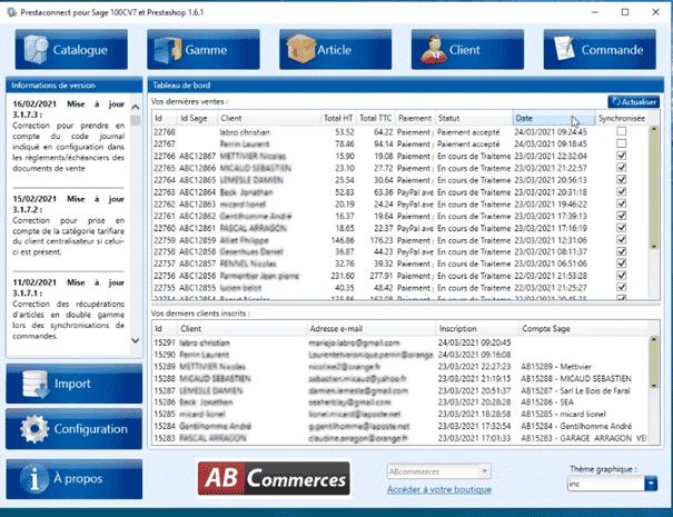 Connecteur site e-commerce PrestaShop - SAGE 100 cloud